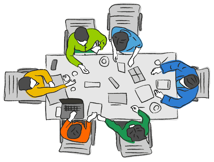 Bird's eye view of 6 people sitting around a rectangle table