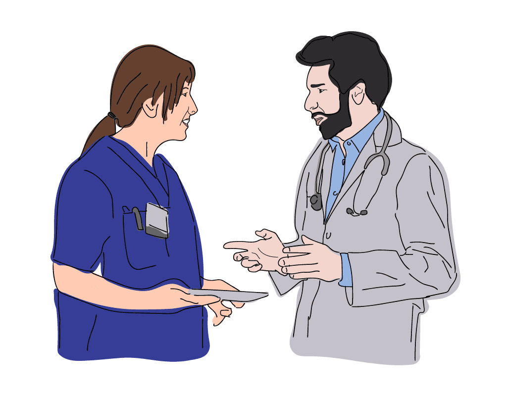 Female Nurse talking with Male Doctor