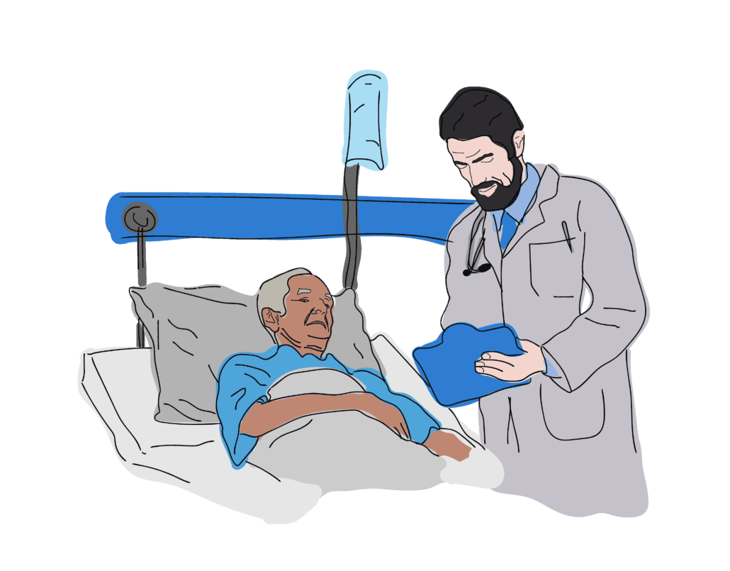 Male Doctor checking up on Elderly Man on hospital bed